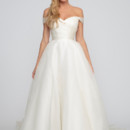 Margaret  Silk Organza.  Natural waist A-line gown with side box pleats and cathedral length train.  Sweetheart neckline with off the should organza sleeves.