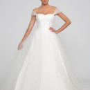 Nancy  Tulle.  Natural waist full A-line gown with chapel length train.  Sweetheart neckline with pleated bodice and crisscross detachable straps.