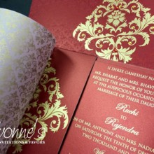 220x220 sq 1497557125548 red and gold indian wedding invite1