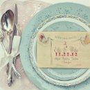 "Save-the-Date from the ""Pick a Pair of Speckled Feathers"" Collection - printed on a wood postcard from Night Owl Paper Goods >>See more: http://onehandspunday.com/shop/products/Pick-a-Pair-of-Speckled-Feathers-