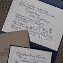 A Fenway Park wedding theme was the inspiration for this wedding invitation featuring a hand drawn skyline of Boston from the Charles River.