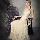 SJ209 Briana-Antique tutti tulle,silver crystal beading and antique silk slip