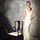 SJ203 Belinda-Bias silk satin mermaid gown with lace neck/sleeve overlay