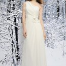 SL015 Grecian style Luxe Chiffon gown made with asymmetrical gathers from the one-shoulder strap and draped to the waist, finished with floral accents, beading and a sweep train. Available in White or Ivory.