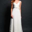 SL045 A gorgeous Luxe Chiffon gown made with Tulle overlay and adorned with lace. The sheer tank style bodice is made with a floral accent ribbon belt at the waist