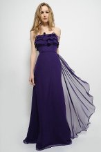 7371 Floor length Chiffon gown made strapless with dramatic ruffles along the neckline and accented with a bias band at the natural waist that ties in the back. The skirt is draped with vertical ruffles along the side. Available in any chiffon color. (Shown in Purple)