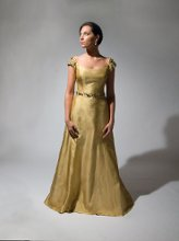 136 Carmel silk shantung with large crystal beading on cap sleeves and belt.