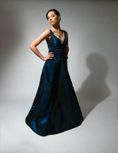 191 Full a-line in iridescent taffeta. Ruched cummerbund and crystal beaded neckline