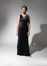 198 Silk Charmeuse sheath with crystal beaded jewel neckline.