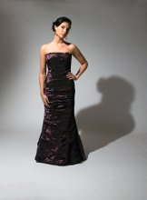 202 Ruched strapless iridescent taffeta in a fit-n-flair silhouette.