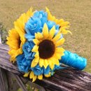 12 inch Round Bridal Bouquet $60 Large Yellow sunflowers with Turquoise Roses, wrapped in turquoise satin ribbon overlayed with sheer ribbon.
