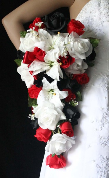 Red White Black Roses Lilies Cascading Bouquet 125