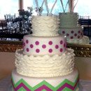 130x130 sq 1374147098853 grn pnk chevron wed cake we