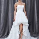 FARRAH Strapless, soft sweetheart neckline with a pleated bodice and a high-low hem skirt.