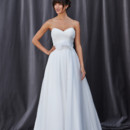 FAYE Strapless sweetheart neckline with pleated bodice ending at the natural waistline. Full a-line skirt that gathers at the waist.