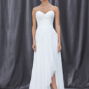 FERGIE Airy chiffon gown with a strapless sweetheart neckline and pleated dropped bodice with a soft a-line skirt.
