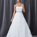FLEUR A satin-organza pleated, modified sweetheart neckline with a bodice ending at the natural waist.