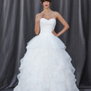 FLORETTA Strapless sweetheart neckline with a laser cut organza applique covering the entire bodice.