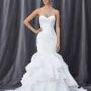 FRANCESCA Strapless sweetheart neckline with an elongated bodice and tiered-ruffle satin organza skirt.