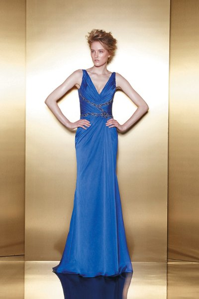 E4  A chiffon v-neck sheath that gathers and criss-crosses at the waist with beaded embroidery detail.