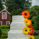 Bright, sunny flowers with a vintage Connecticut barn pictured in the background. Our signature cake can be adorned with any flowers you choose.