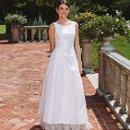 Harper Silk duchess satin sleeveless A-line gown with organza ruffle at hem.