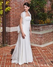 Ava Silk crepe strapless gown with organza wrap and back organza bow.