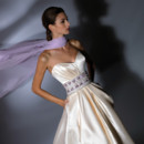 VH122  Magnolia strapless sweetheart, side draped ball gown with jeweled cummerbund