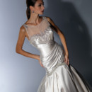 VH130 Satin fit and flare gown with illusion embroidered yoke and back, side draped body with embroidered trim