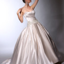 VH141 Strapless satin ball gown with side draped bodice, dropped waist and embroidery at neck and hip line with front skirt applique.