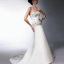 VH145 Silk satin A-line gown with embroidered bodice and train applique