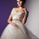 VHC241 Silk organza and jeweled overlay ball gown with jeweled bodice and waist ribbon.