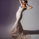 VHC243 Alencon lace strapless mermaid gown with corseted bodice and embroidery and jewels at neckline and hipline.