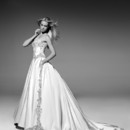 VHC260 Satin strapless ball gown with embroidered bodice, side panels on skirt and train applique