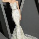 VHC275  Strapless fit to flare ribbon French lace gown with embroidered bodice and belted waistline.
