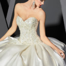 VHC276  Strapless ombre satin ball gown with ribbon lace & beaded bodice.