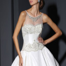 VH161  Bateau neck satin ball gown, embroidered illusion yoke & back, embroidered lace on bust & hip line.