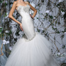 Victor Harper Style VH171  Strapless satin tulle fit & flare gown. Embroidered and beaded neckline, hip, & skirt appliques.