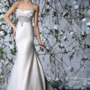 Victor Harper Style VH173  Strapless satin fitted gown with draped bodice. Beaded embroidery on bodice and front skirt hem