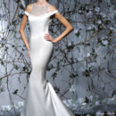 VH177  Off the shoulder fitted gown in satin. Embroidered halter yoke, with beaded back and train.