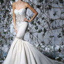 VH178  Strapless fit & flare satin gown with beaded embroidered midriff and hip line.