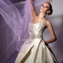 VHC239  Silk taffeta strapless ballgown with draped bodice, wide jeweled cumberbund and full side draped ball skirt.