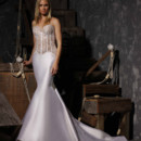 Style VHC306  Strapless fit and flare silk gown. Corset bodice in lace over clear sequins with piping.