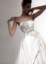 VH110 Satin strapless ball gown with jeweled bodice applique and side draped ball skirt.