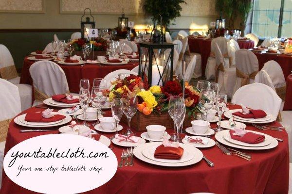 1358645637477 RedWeddingTablecloth Airmont Wedding Eventproduction