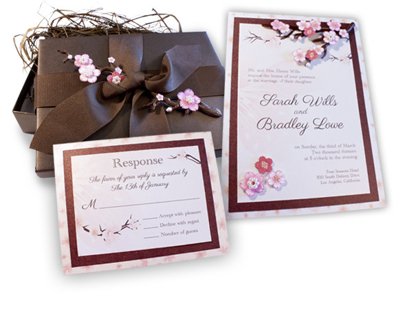 Custom Cherry Blossom Musical Wedding Invitation