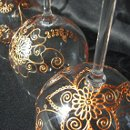 Each Mehndi Glass is a one of a kind custom order. Artisan created with your preferences in Mehndi/henna style designs hand painted in metallic colors of gold, copper or pewter. Optional personalization. Available in Red wine, white wine & champagne flutes. This set of red wine glasses in copper is an example of what I can create for you!