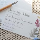 Autumnal Save the Dates: http://bespokestationer.com/design/autumnal-save-dates 100% pcw recycled postcards with soy inks