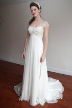 Belle Fille ANGEL KISS BF-D605 Ruched, v-neck bodice with beaded cap sleeves, flared a-line skirt