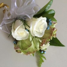 220x220 sq 1483504058344 green white rose corsage